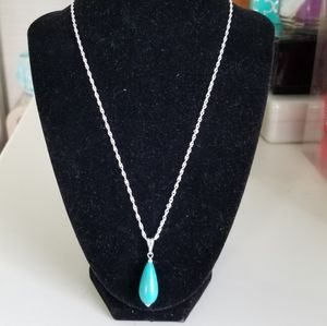 925 Sterling silver turquoise w silver chain. New